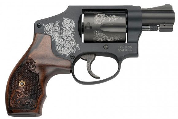 "Smith & Wesson 150785 442 Machine Engraved Double .38 Special 1.875"" 5 Engraved Wood Blued Revolver"