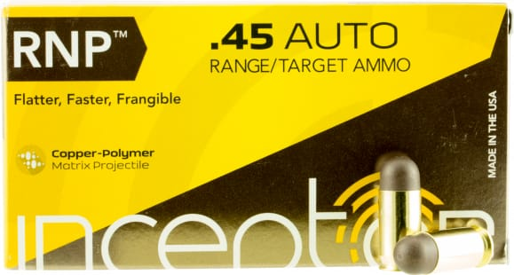 PolyCase Ammo 45RNPBR50 Inceptor 45 ACP 130 GR Round Nose - 50rd Box
