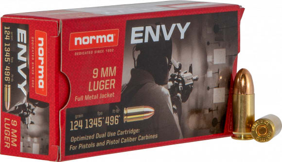 Norma 299440050 9mm 124 Envy - 50rd Box