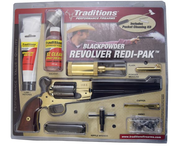 1858 Black Powder Navy Revolver .44 Cal Brass, Blued, With Full Kit - by Traditions - FRS1858 - Black Powder - No FFL Required
