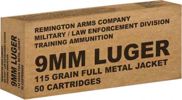 Remington Ammunition B9MM3 Overrun 9mm Luger 115 GR Full Metal Jacket - 50rd Box
