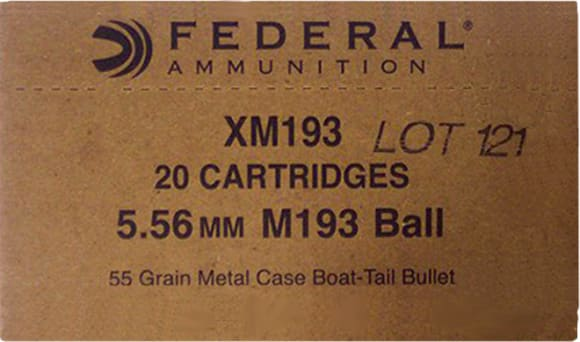 Federal XM193BK XM 5.56 NATO FMJ Boat Tail 55 GR - 1000rd Case