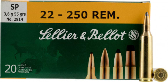 Sellier & Bellot SB22250B Rifle 22-250 Rem 55 GR Soft Point - 20rd Box