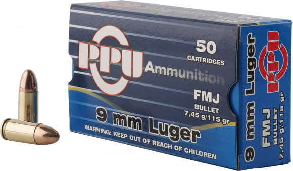 PPU PPH9F1 Handgun 9mm Luger 115 GR Full Metal Jacket - 50rd Box