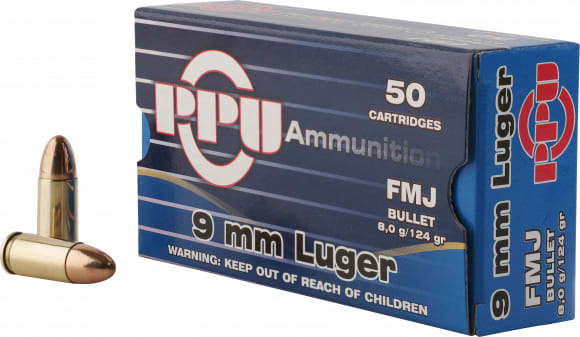 PPU PPH9F2 Handgun 9mm Luger 124 GR Full Metal Jacket - 50rd Box