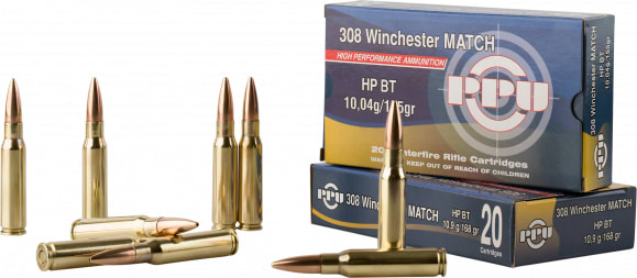 PPU PPM3082 Match 308 Winchester/7.62 NATO 168 GR Hollow Point Boat Tail - 20rd Box