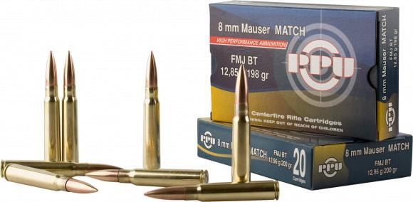 PPU PP8F Metric Rifle 8mm Mauser 198 GR Full Metal Jacket - 20rd Box