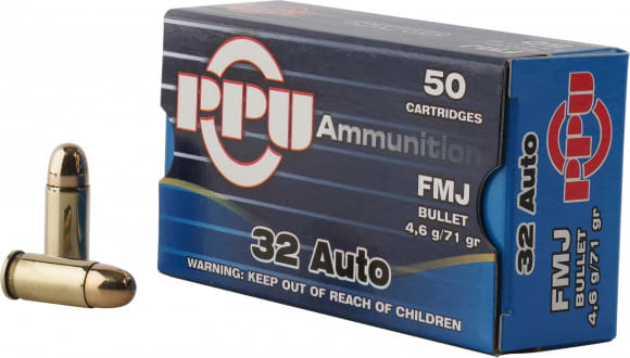 PPU PP32AF Handgun 32 ACP 71 GR Full Metal Jacket - 50rd Box