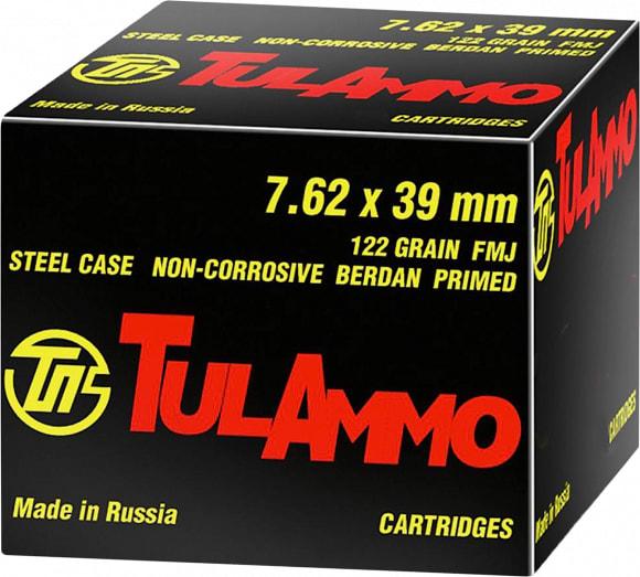 Tula7.62x39 Ammunition - 122 GR, FMJ, Non Corrosive - 40rds / Box
