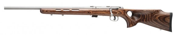 """Savage 25795 Mark II BTV Bolt 22 LR 21"""" 5+1 Laminate Thumbhole Brown Stock Stainless Steel"""
