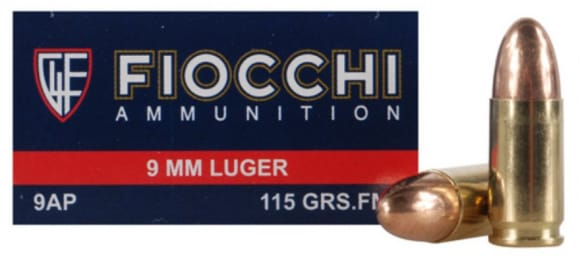 Fiocchi Pistol Ammunition 9AP, 9mm, Full Metal Jacket (FMJ), 115 GR, 1200 fps, 50 Rds / Box