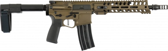 "Patriot Ordnance Factory 01463 Renegade Plus AR Pistol Semi-Auto 10.5"" 30+1 Polymer Burnt Bronze Receiver/Black Barrel"