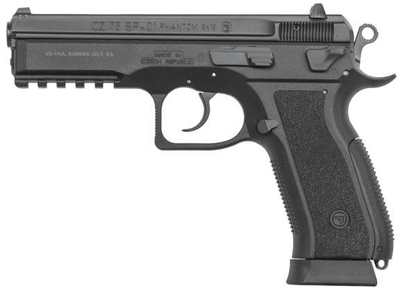 "CZ 91258 SP-01 Phantom DA/SA 9mm 4.6"" 18+1 Black Interchangeable Backstrap Grip Black"