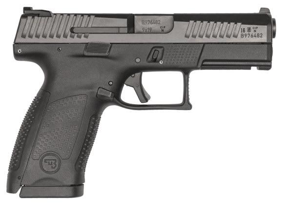 """CZ 01520 P-10 DA/SA 9mm 4"""" 10+1 Black Interchangeable Backstrap Grip Black"""