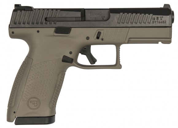 "CZ 91521 P-10 DA/SA 9mm 4"" 15+1 Flat Dark Earth Interchangeable Backstrap Grip Black Nitride"