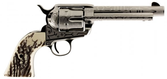 """Taylors and Company OG1408 1873 Cattleman Single 45 Colt (LC) 5.5"""" 6 Ivory Synthetic Nickel"""