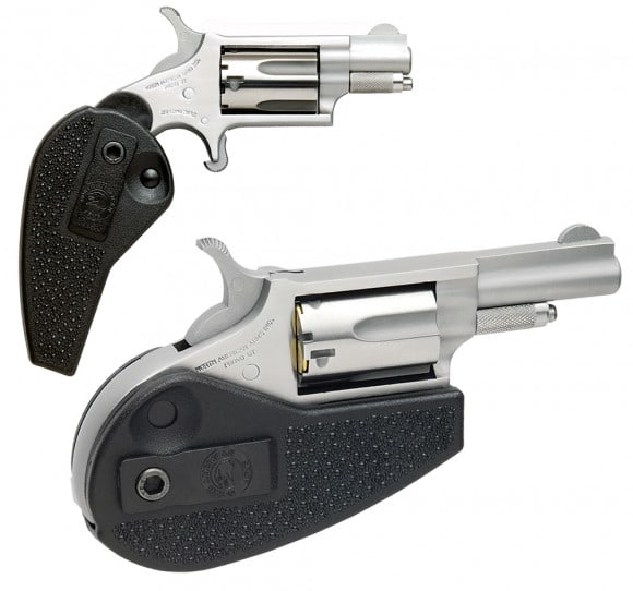 """NAA HGMSC 22 Magnum Holster Grip with 22 LR Cylinder Single 22 WMR 1.1"""" 5 Black Synthetic Holster Stainless"""
