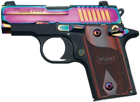 "Sig Sauer 238380RBT P238 Rainbow Single 380 ACP 2.7"" 6+1 NS Rosewood Grip Black Frame Rainbow Titanium PVD"