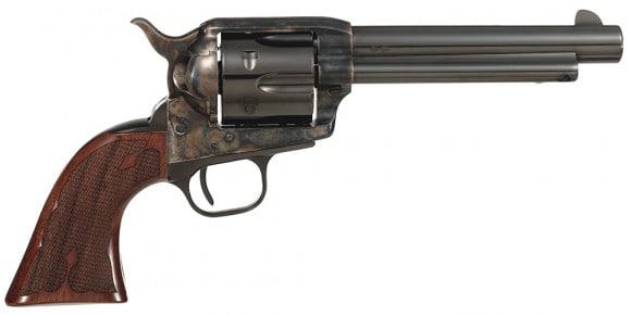 "Taylors&Co 555130 Taylor Gambler 45LC 5.5"" 6rd Walnut Grip CH Frame Blued"