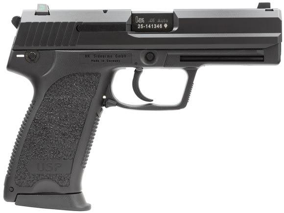 "HK 704501LEA5 USP45 V1 DA/SA 45 ACP 4.41"" 12+1 3 Mags NS Black Poly Grip Blued"