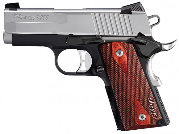 """Sig Sauer 1911UT9TSS 1911 Ultra Compact Two-Tone Single 9mm 3.3"""" 7+1 NS Rosewood Grip Black Hard Coat Anodized Frame SS"""