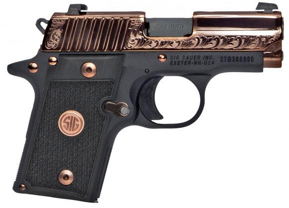 "Sig Sauer 238380ERG P238 Single 380 ACP 3"" 7+1 Black G10 Grip Rose Gold PVD Stainless Steel"