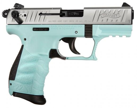 "Walther Arms 5120560 P22 QD DA/SA 22 LR 3.42"" 10+1 Black Interchangeable Backstrap Grip Angel Blue Polymer Frame"