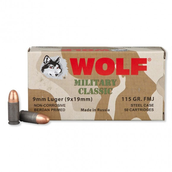 Wolf 9mm 115gr FMJ Ammo, Military Classic - 50rd Box