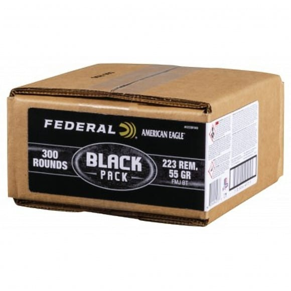 Federal Black Label 223 Rem 55 GR FMJ AE223BF300 - 300rd Bulk Pack