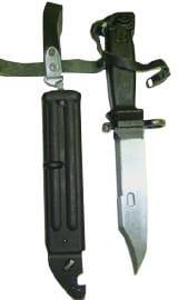 Original Eastern Bloc or Bulgarian Divers Style AK-74 Wire Cutter Bayonets - Black Polymer W /Sheath - Surplus