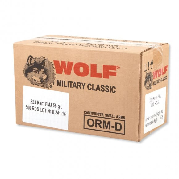 Wolf Military Classic .223 55gr FMJ Ammo - 500rd Case