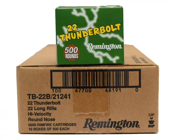 Remington Thunderbolt .22 LR 40gr LRN Lead Round Nose Ammo, 1255 FPS - 5000rd Case