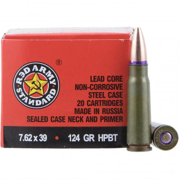 Red Army Standard 7.62x39 124 GR HPBT Ammo, Non-Corrosive - 1000rd Case