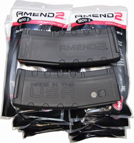 Amend2 .556 / 223 Caliber AR-15 30 Round AR-15 Magazine Model 2 - MOD2BLK30 - 10 Mag Bundle Pack