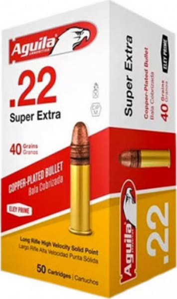 Aguila 22LR 40 GR Super Extra High Velocity Copper Plated, Solid Point Ammo 1B222328 - 500rd Brick
