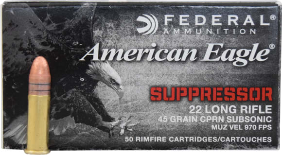Federal American Eagle 22LR 45 GR Subsonic Copper Plated Round Nose Ammo AE22SUP1 - 50rd Box