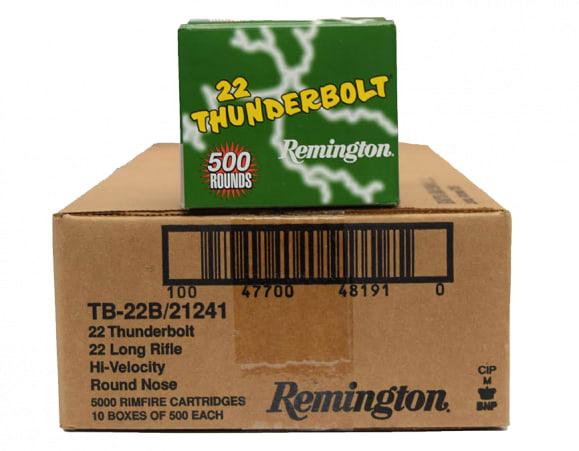 Remington Thunderbolt .22 LR 40 GR LRN Lead Round Nose Ammo, 1255 FPS - 5000rd Case