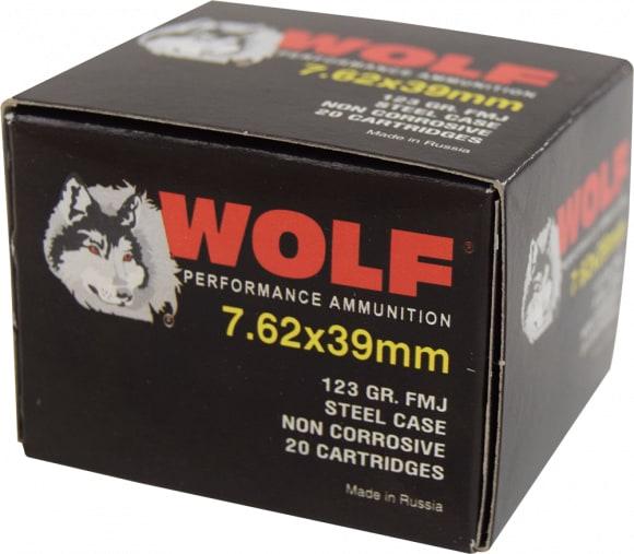 Wolf Performance 7.62x39 123 GR Ammo, FMJ Non Corrosive - 20rd Box