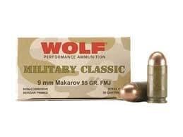 Wolf Military Classic 9x18 Makarov 94gr FMJ Ammo - 50rd box