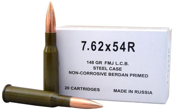 Russian 7.62X54R 148gr Non-Corrosive FMJ Ammo by Wolf - 20rd Box