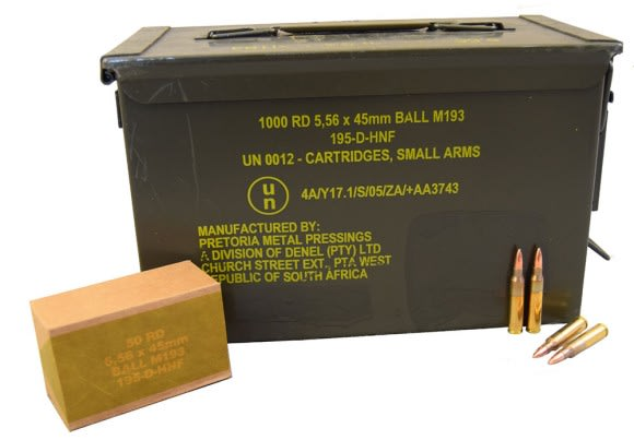 PMP 5.56x45mm 55gr M193 Ball In Sealed Ammo Can AM2427 - 1000rd Can