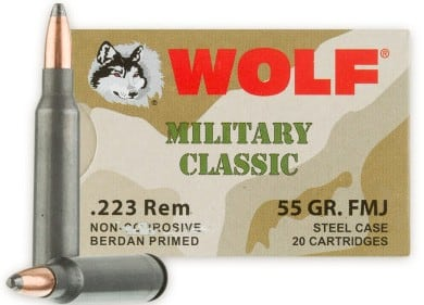 Wolf Military Classic .223 55gr FMJ Ammo - 20rd Box