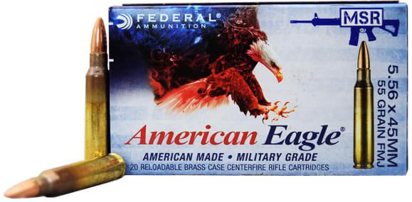 Federal American Eagle XM193 55gr 5.56x45mm FMJ Ammo, Lake City Production - 20rd Box