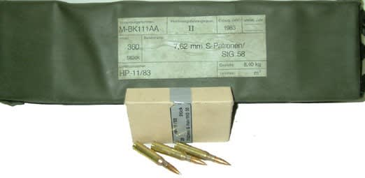 Hirtenberger 7.62x51 NATO / .308 147 gr, Brass, Boxer, Reloadable, Non Corrosive, Lead Core Ammo - 360rd Battle Pack