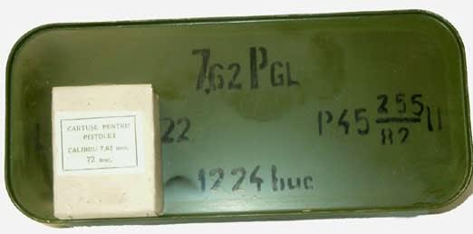 Romanian 7.62x25 86gr, Brass, Berdan, 1980's Production Ammo - 1224rd Tin