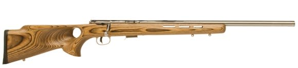 Savage Arms 93R17 BTV 17HMR Rifle, 21in Barrel Stainless Steel Brown Laminated TH Accutrigger - 96200