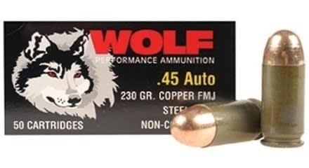 Wolf Polyformance .45 ACP 230gr FMJ Ammo - 50rd Box