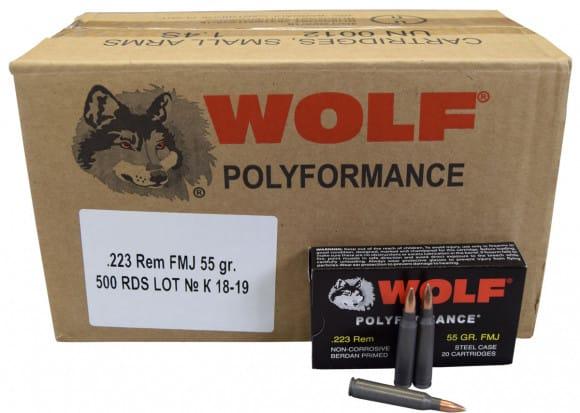 Wolf Polyformance .223 55 GR FMJ Ammo - 500rd Case
