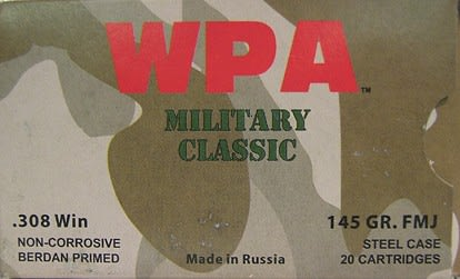 Wolf Military Classic .308 Winchester 145 GR Ammo - 20rd box