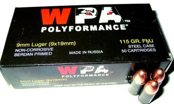 Wolf 9mm 115 GR FMJ Ammo - 50rd Box